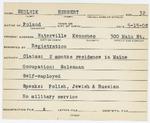 Alien Registration Card- Skolnik, Herbert (Waterville, Kennebec County)