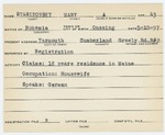 Alien Registration Card- Stasinowsky, Mary O. (Yarmouth, Cumberland County)