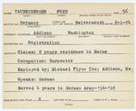 Alien Registration Card- Taubenberger, Fred (Addison, Washington County)