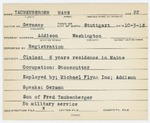 Alien Registration Card- Taubenberger, Hans (Addison, Washington County)
