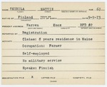 Alien Registration Card- Teirila, Mattin(Warren, Knox County)