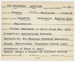 Alien Registration Card- Von Fragstein, Mathilde (Vanceboro, Washington County)