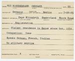 Alien Registration Card- Von Koschembahr, Gerhard (Cape Elizabeth, Cumberland County) by Gerhard Von Koschembahr