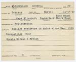 Alien Registration Card- Von Koschembahr, Gundula (Cape Elizabeth, Cumberland County)