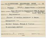 Alien Registration Card- Von Koschembahr, Heinz-Hasso Ernst (Cape Elizabeth, Cumberland County) by Heinz-Hasso Ernst Von Koschembahr