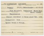 Alien Registration Card- Von Koschembahr, Margarete (Cape Elizabeth, Cumberland County) by Margarete Von Koschembahr