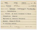 Alien Registration Card- Ward, Anton V. (Lewiston, Androscoggin County)
