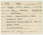 Alien Registration Card- Wayne, Justin (Bath, Sagadahoc County)