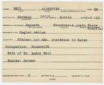 Alien Registration Card- Weil, Albertine (Augusta, Kennebec County)