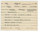 Alien Registration Card- Weil, Dr. Andre (Augusta, Kennebec County)