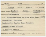 Alien Registration Card- Weisz, Hans (Rumford, Oxford County)