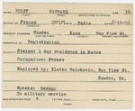 Alien Registration Card- Wolff, Richard (Camden, Knox County)