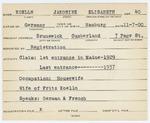 Alien Registration Card- Koelln, Jakobine E. (Brunswick, Cumberland County)