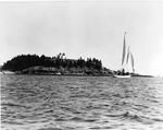 Sailboat Off Bear Island Light by George W. French
