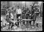 """Boy Scout Using A Drawshave """"Blue Ridge- Shave Horse"""" by George French"""