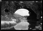 "Bridge Arch Over River, Mill In Background At ""Little Falls"". ""Arch At Little Falls"" by George French"