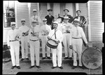 """Group Shot Of The Kezar Falls Band. """"K.F. Band, Elwood And Drum"""" by George French"""