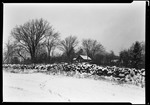 French Homestead In Winter From Across A Field- Stone Wall Near Center by George French