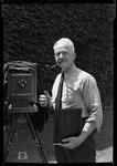 George French With 8x10 View Camera At Age 60 (With Coat Off And Pipe In Mouth) by George French