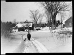 Boy And Dog On Way Home From School In Snow by George French
