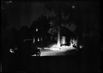 Exterior Of Old French Homestead At Night by George French