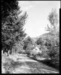 Looking Down Road To Village, Steeple Of Church Sticks Up In Front On Mountain In Grafton, Vermont by George French