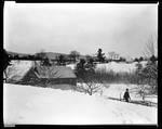 Village Scene Covered In Snow, Man Walks Far Right In Kezar Falls by George French
