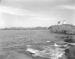 Rocky Coast Around Nubble Light, People Fish From Rocks At Right In York by George French