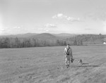 Herb Walks In Field With Birds And Gun With Dog At His Side, Mountains Afar In Kezar Falls by George French