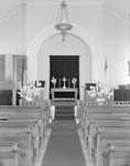 Interior View Of Church In Kezar Falls, Shows Altar From Center Aisle by George French