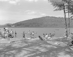Many At Beach At Spec Pond, Mountain Afar In Kezar Falls by George French