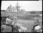 Pa & Boy Near Traps, Pa Works Boy Watches, House In Background In Bucks Harbor by George French