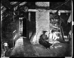 George French And Friend, Edward, Reading Dime Novels In Attic, Sitting With Backs Against Chimney by George French