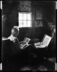 I, George French, Reading A Novel In Attic Of Homestead, Window Center, Trunk Of Books On Right Kezar Falls by George French