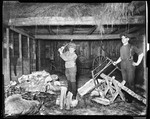 Ern Splitting Wood While I, George French, Saw Logs In The Barn In Kezar Falls by George French