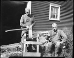 Double Exposure Of Grandpa Sears Sharpening An Ax On A Grindstone by George French
