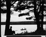 Del Sitting By A Pine Tree Looking Out Over Lake Toward A Canoe At Camp Wavus by George French