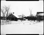 Back View Of French Homestead In Kezar Falls, Ern Shoveling Snow by George French