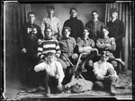 Group Photo Of Parsonsfield Seminary Baseball Team,11 Players In Studio by George French