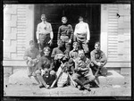 Group Photo Of Parsonsfield Seminary Baseball Team, 9 Sit On Steps Outdoors by George French