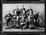 Group Photo Of Bates College Glee Club, 11 Members With Their Musical Instruments by George French