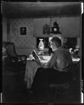 George Reading By Lamp Light In Kezar Falls by George French