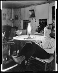 Man Reading By Kerosene Light In Kezar Falls by George French