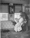 MassachusettsFrench At Sewing Table Checking Over Her Pattern, Star In Window, And Man Bending Over Looking At The Pattern Also by George French