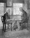 Checkers, Two Men Playing Outside On A Porch by George French