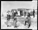 Group Of Young Women Being Photographed In Poland Spring, Poland Spring House In Distance by George W. French