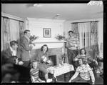 Group Of People Gathered Around The Fire At A Ski Lodge In Poland Spring by George W. French