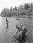 Couple Of Guys Fly-Fishing, One Has Nice Catch by George French