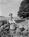 Girl Posing By A Stone Wall by George French