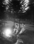 Couple Roasting Hotdogs Over A Campfire At Night by George French